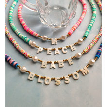 Flatfoosie Custom Name Natural Shell Beaded Necklace For Women Personalized Initial Letter Clay Beads Choker Necklace Jewelry