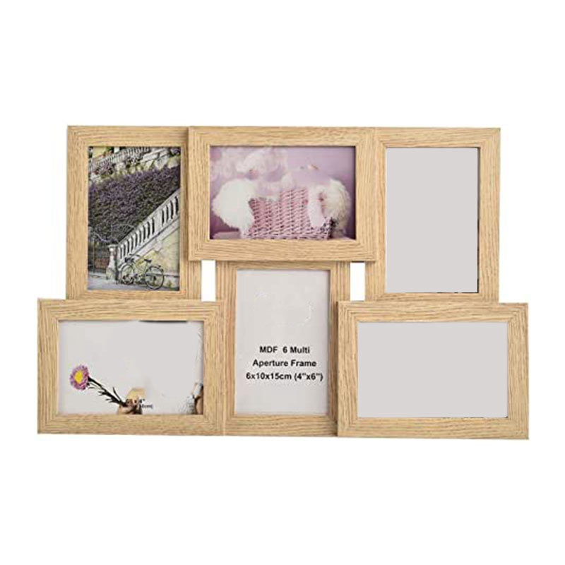"""Wooden 12 Aperture 4x6/"""" Natural MDF Multi Photo Frame Suitable for 12 Photo/'s"""