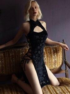 Image 3 - Robe de nuit en velours Sexy pour femmes, en dentelle en V profonde, ouverture latérale, fendue sur le côté, vêtements de nuit, vêtements pour la maison