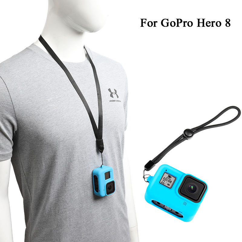 For Gopro 8 Silicone Cover Hero 8 Black Sport Camera Drop Protection Case With Lanyard Wrist Strap For Go Pro Hero8 Accessories