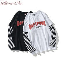 Women Tops and T Shirts 2019 Spring Autumn Tee Shirt Character Letter Print Stripe Patchwork Casual Loose Long Sleeve T Shirt