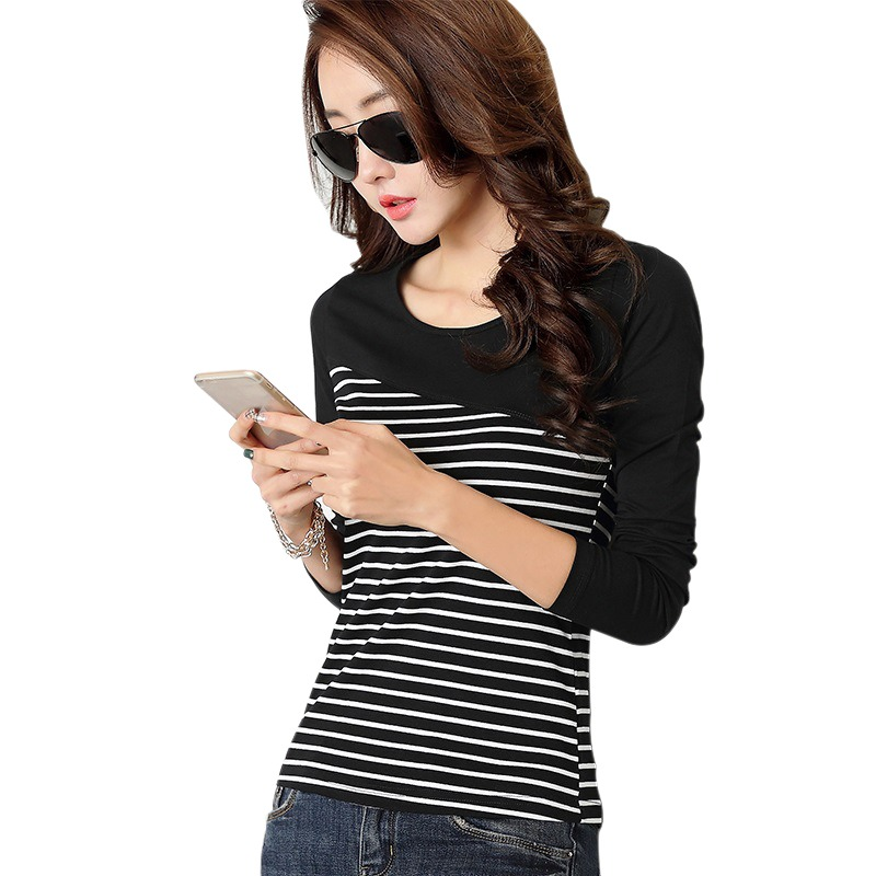 H36b04a7c77bc4b4db1ed67d6715c147d2 - T Shirt Women Top Shirts Long sleeve Casual Tshirt Striped Female