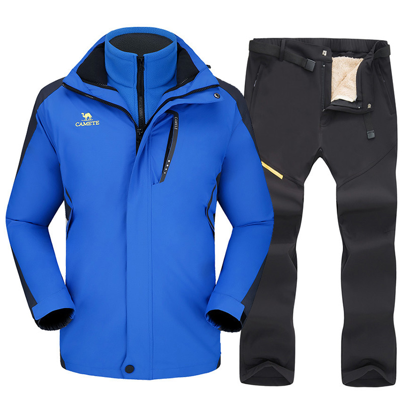 Ski Suit For Men Thicken Warm Windproof Waterproof Outdoor Sports Snow Jacket Pants Male Ski Equipment Snowboard Jacket Sets