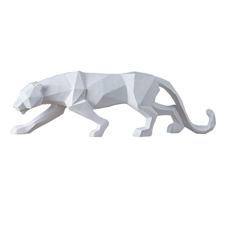 Moderne abstrait noir panthère résine Sculpture géométrique résine léopard Statue artisanat faune Art décor cadeau ornement décoration