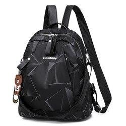 Petits sacs à dos pour femmes noir géométrique étanche Oxford sac à dos filles adolescent sac d'école Pack femme collège