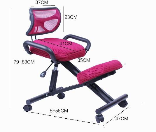 Купить с кэшбэком Ergonomically Designed Knee Chair With Back And Handle Mesh Fabric Caster Office Kneeling Chair Ergonomic Posture Chair Office