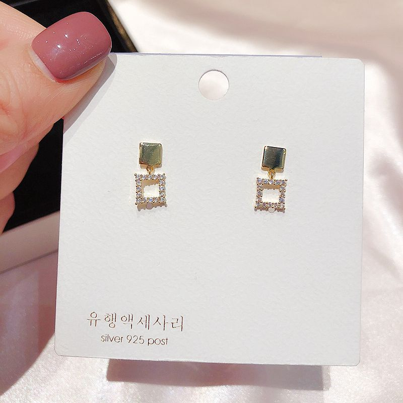Delicate Small Square Pendant Stud Earrings Gold Color Micro Paved Cubic Zircon Earrings for Women