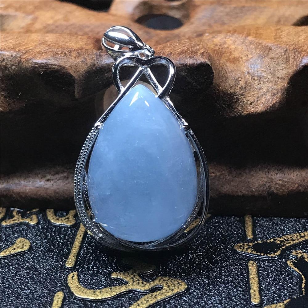 Natural Blue Aquamarine Crystal Raw Material Stone Women Men Pendant 32x26x14mm AAAAA