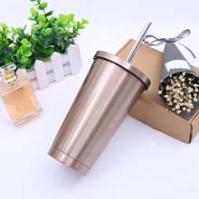 500ML Stainless Steel Coffee Cup Water Bottle Office Business Slim Tumblers with Lids and Straws Tumbler for Hot.Cold Drinks