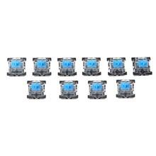 10 pces 3 pinos interruptor de teclado mecânico azul para kit testador teclado cereja mx