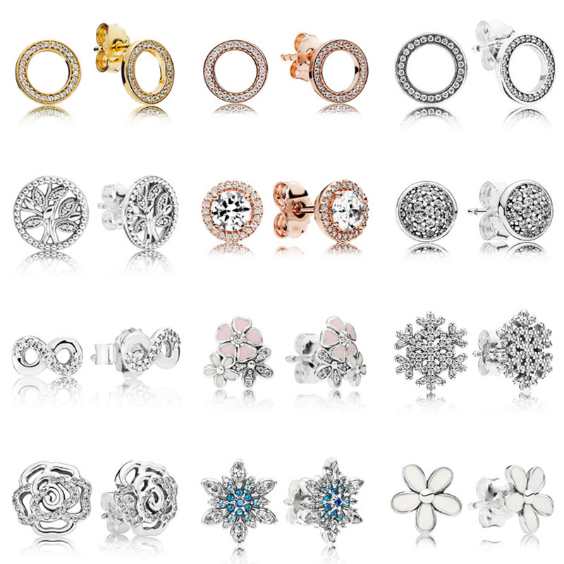 2020 100% 925 Sterling Silver Pandoras Circly Peach Blue Snowflake Rose Tree Of Life Fashion Earrings High Quality Gifts Female
