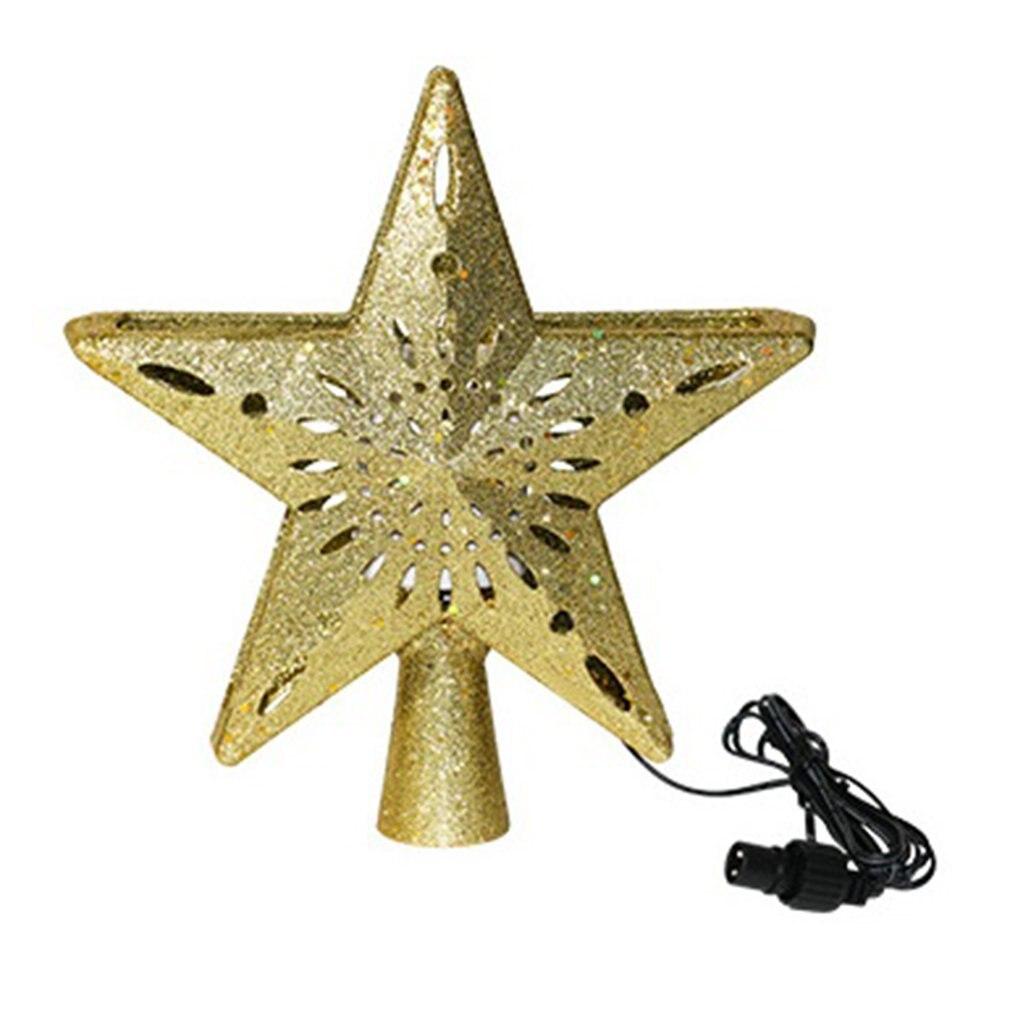 3D Flashing Stars Christmas Tree Decoration Led Light Top Rotating Snowflake Projection Lamp Christmas Tree Pendant