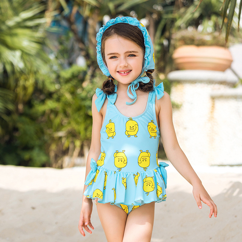 KID'S Swimwear Women's Dress-Big Boy Students GIRL'S With Swim Cap Cute Yellow Duck Beach Holiday Swimming Suit