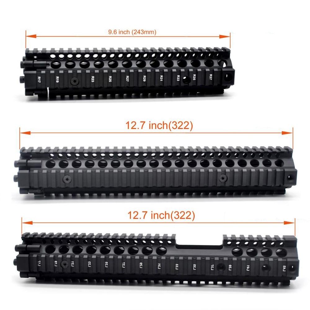 9,6/12,7 дюймов Quad Rail Handguard MK18 Picatinny Mount Can Split to Two Parts тактический охотничий черный анодированный Handguards