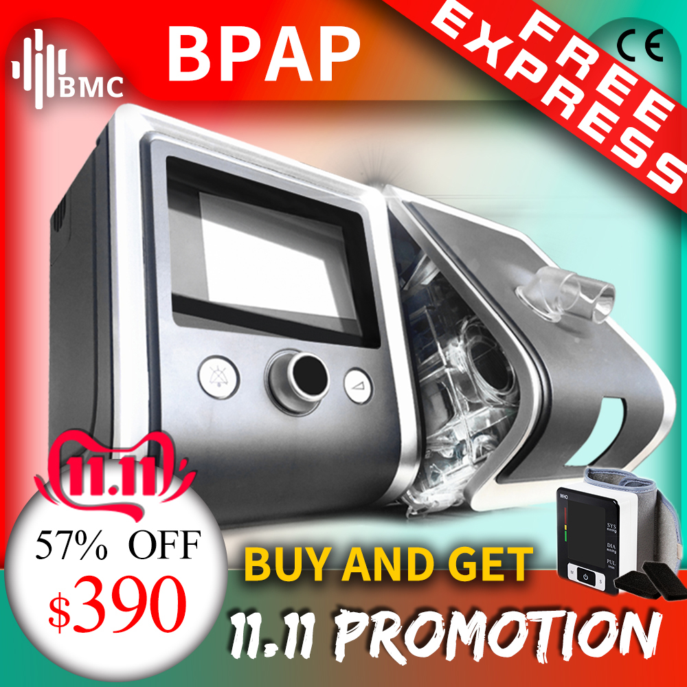 BMC GII BPAP T-20A/25A/25 T Bilevel CPAP thérapie apnée COPD avec oxymètre de pouls du bout des doigts SpO2 kit masque facial complet tuyau humidificateur