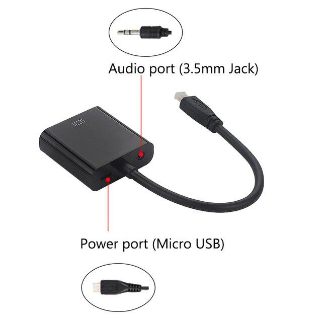 Micro hdmi na kabel adaptera vga męski na żeński + gniazdo audio + przewód zasilający usb na konsolę Xbox | kamera PS4/3 | telefon komórkowy | Raspberry Pi 4