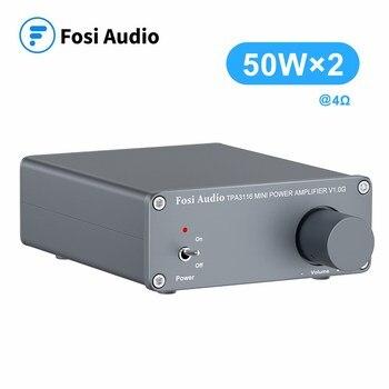 Fosi Audio V1.0G 2 Channel Stereo Audio Class D Power Amplifier Mini Hi-Fi Professional Digital Amp for Home Speakers 50W x 2 mini 12v hi fi 2 channel car auto stereo audio amplifier amp for motorcycle subwoofer