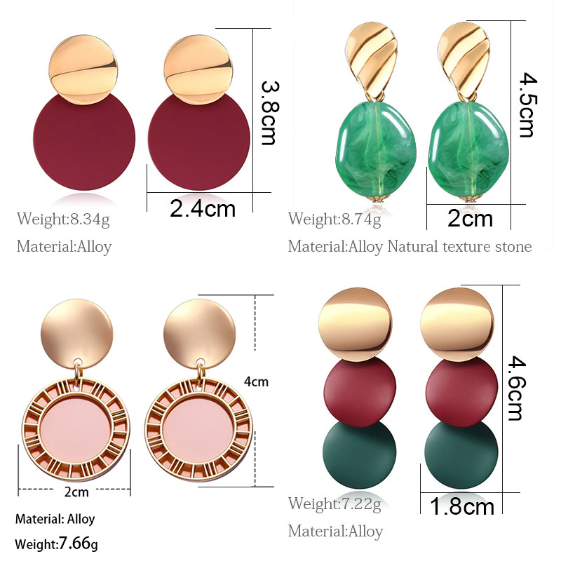 X&P Korean Statement Earrings Fashion Jewelry Vintage Round Acrylic Drop Earrings for Women 2020 Geometric Resin Wedding Earings