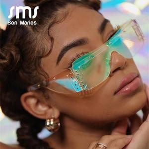Fashion Rimless Square Sunglasses Women 2020 Luxury Brand Mirror Pink Shades Sunglasses Men Trend Female Eyewear Glasses Oculos(China)