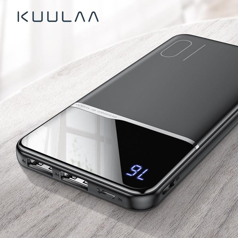 KUULAA Мощность Bank 10000 mAh Портативный зарядки повербанк 10000 mAh Dual USB тонкий внешний аккумулятор Зарядное устройство для Xiaomi Mi 9 8 iPhone