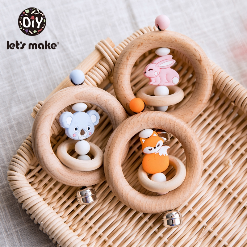 Let'S Make 5pc Miniature Animal Wood Rings Infant Baby Play Baby Rattle Baby Mobile Wood Baby Mobile Music <font><b>New</b></font> <font><b>Born</b></font> Baby <font><b>Toys</b></font> image