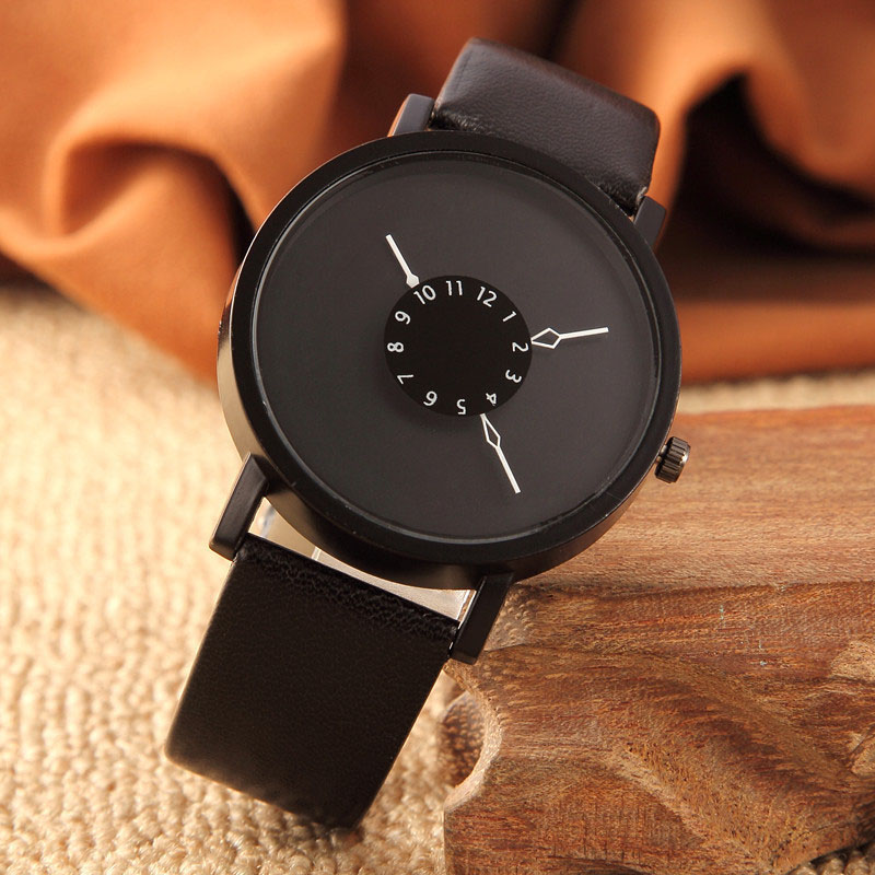 New Couple PU Leather Strap Quartz Analog Wrist Watch Chronograph Creativity Men's Women's Wacthes Clock C241