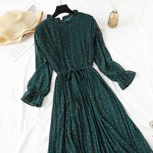 Elegant Polka Dot Women Dress Female Casual Flare Sleeve Office Chiffon Dot Print Dresses A-line Vintage Sweet Clothing Vestidos 5