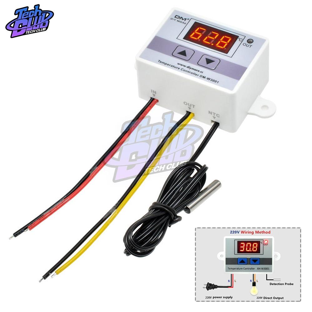 DC 12V 24V 110V  220V  Digital LED Temperature Controller W3001 For Incubator Cooling Heating Switch Thermostat NTC Sensor