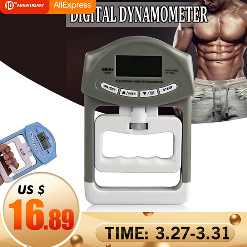 Digital LCD Dynamometer Measurement Strength Meter Mucle Hand Grip Power 90kg/198Ib For Body Building Gym Exercises Dinamometro