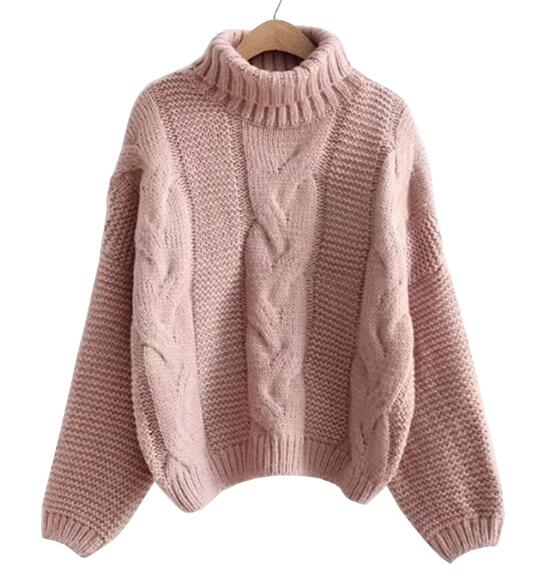 Autumn Winter Short Sweater Women Knitted Turtleneck Pullovers Casual Soft Jumper Fashion Long Sleeve Pull Femme 7