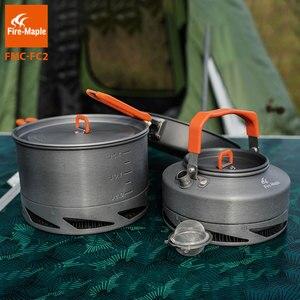 Image 4 - Fire Maple utensilios Camping senderismo cocina juego de Picnic Intercambiador de Calor olla Pan tetera FMC FC2 utensilios de cocina al aire libre vajilla