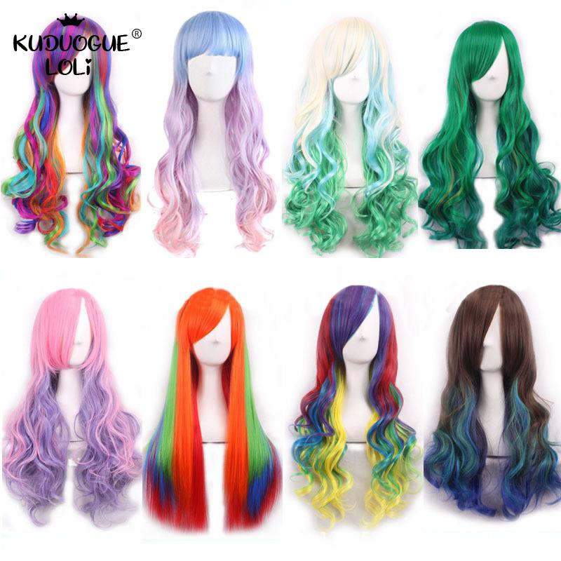 Gothic Party Colorful Cosplay Wigs Long Curly Wig Harajuku Halloween Anime Gradient Wave Wigs Heat Resistant Synthetic Hair