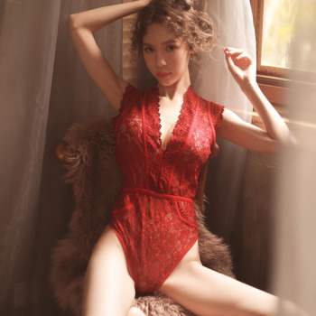 New 2020 sexy summer perspective mesh yarn female lace one-piece deep V slim Nightclub jumpsuit bodysuit