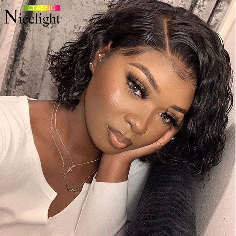 Nicelight Hair 13x4 Lace Front Bob Wigs Deep Wave Hair Wig Brazilian Human Hair Wigs Natural Color Remy Hair Wig 8-16 Inch Wigs