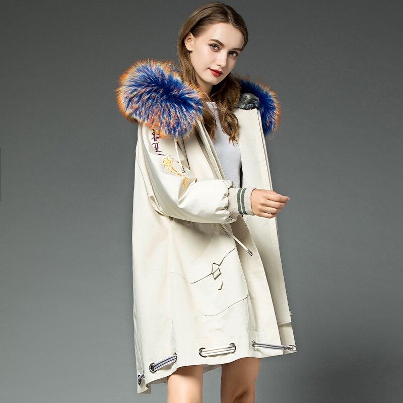 Coat Winter 2020 Women Rabbit Fur Liner Warm Parka Real Fur Coat Female Raccoon Fur Collar Korean Long Jacket MY4569