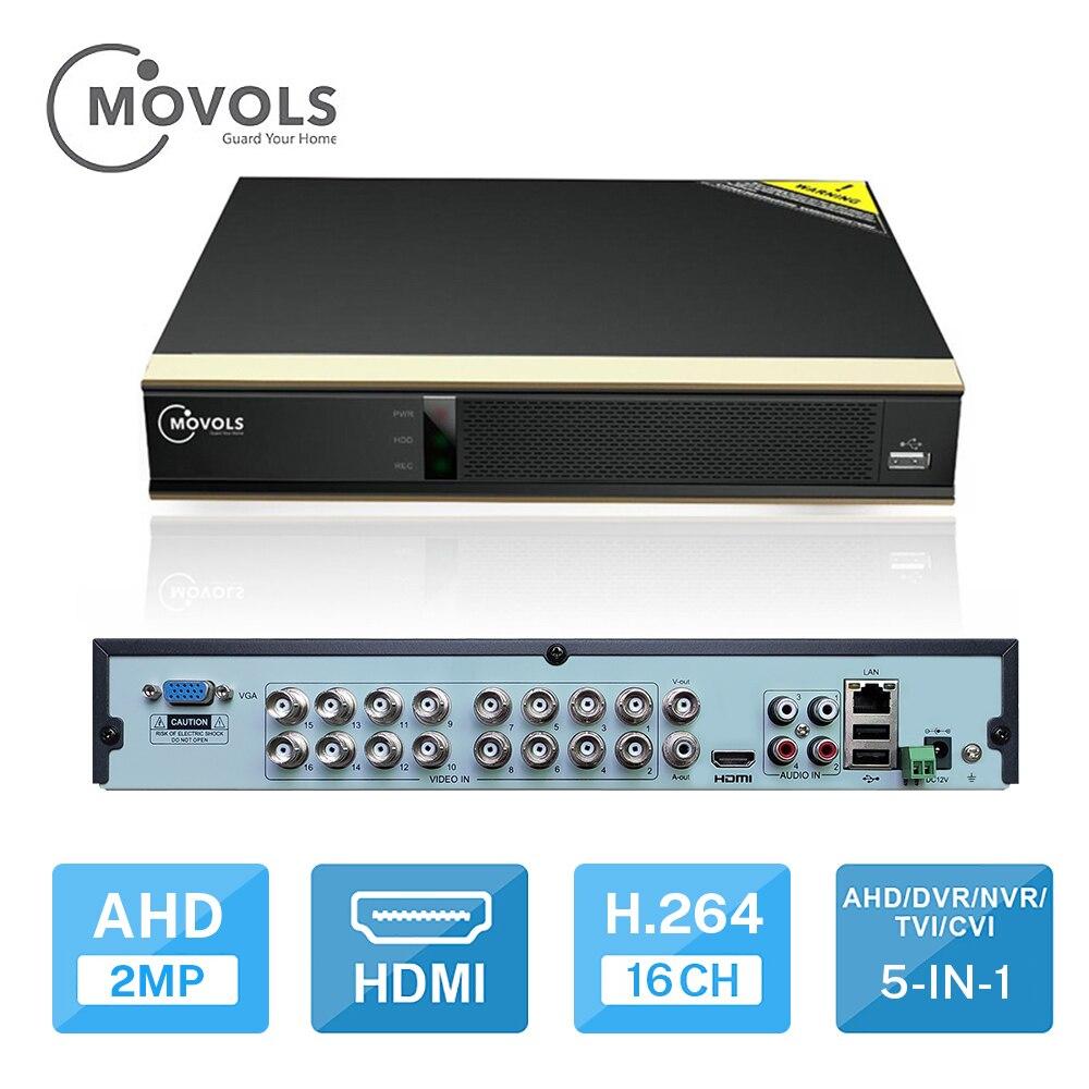 MOVOLS DVR 16-kanałowy 8-kanałowy rejestrator wideo CCTV dla kamera AHD kamera analogowa kamera IP Onvif P2P 1080P wideorejestrator do monitoringu wideo