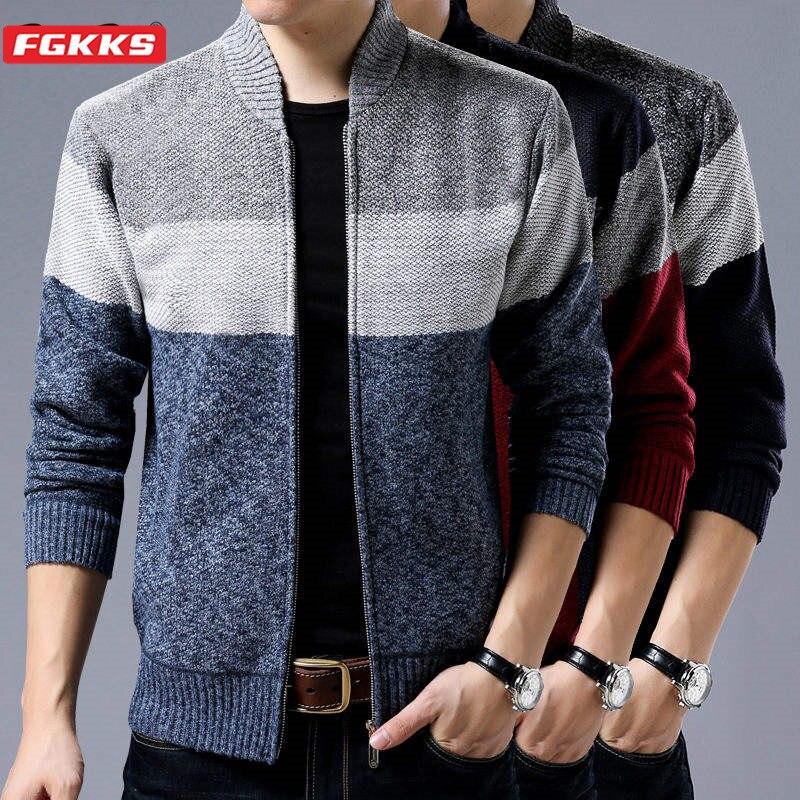FGKKS Men Slim Sweater Coat Men's Autumn And Winter Plus Velvet Fleece Zipper Knit Striped Coat Stand Collar Cardigan