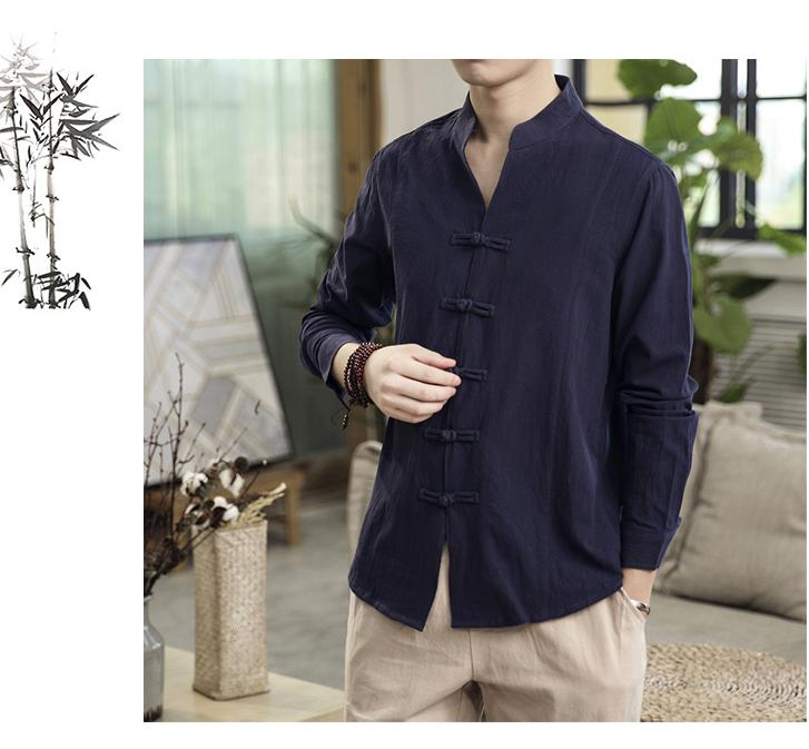Image 4 - Button Collar Long sleeved Blouse Mens Shirt Chinese style Slim Linen Shirt for Mens clothing AutumnCasual Shirts   -