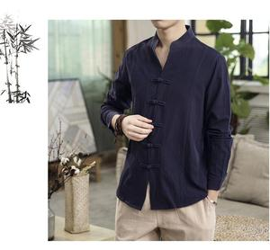 Image 4 - Button Collar Long sleeved Blouse Mens Shirt Chinese style Slim Linen Shirt for Mens clothing Autumn