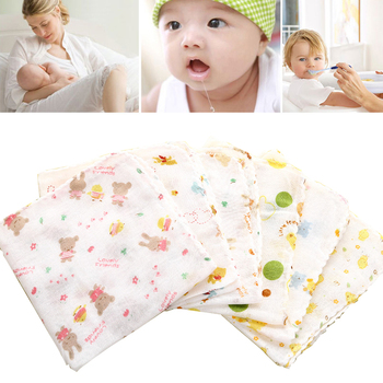 Baby New Born Gauze Muslin Bath Towel Square Pure Knitted Cotton Bath Face Wash Handkerchief Towels Random Color 31*31cm image