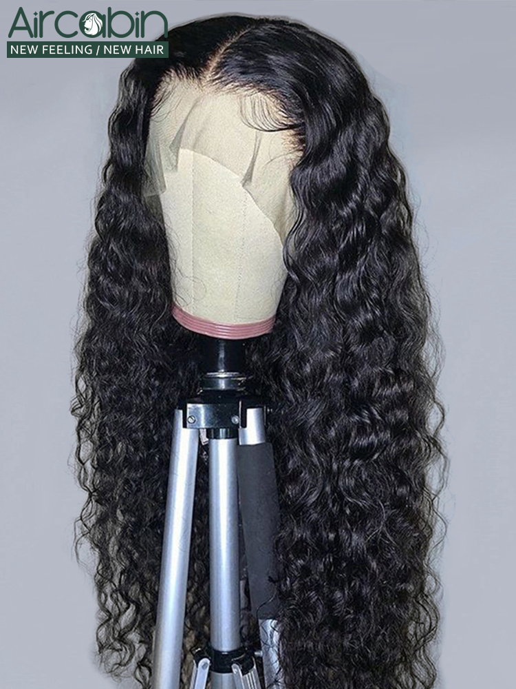 Aircabin Wig Brazilian Human-Hair-Wigs Lace Closure Water-Wave Lace-Front Glueless Black Women