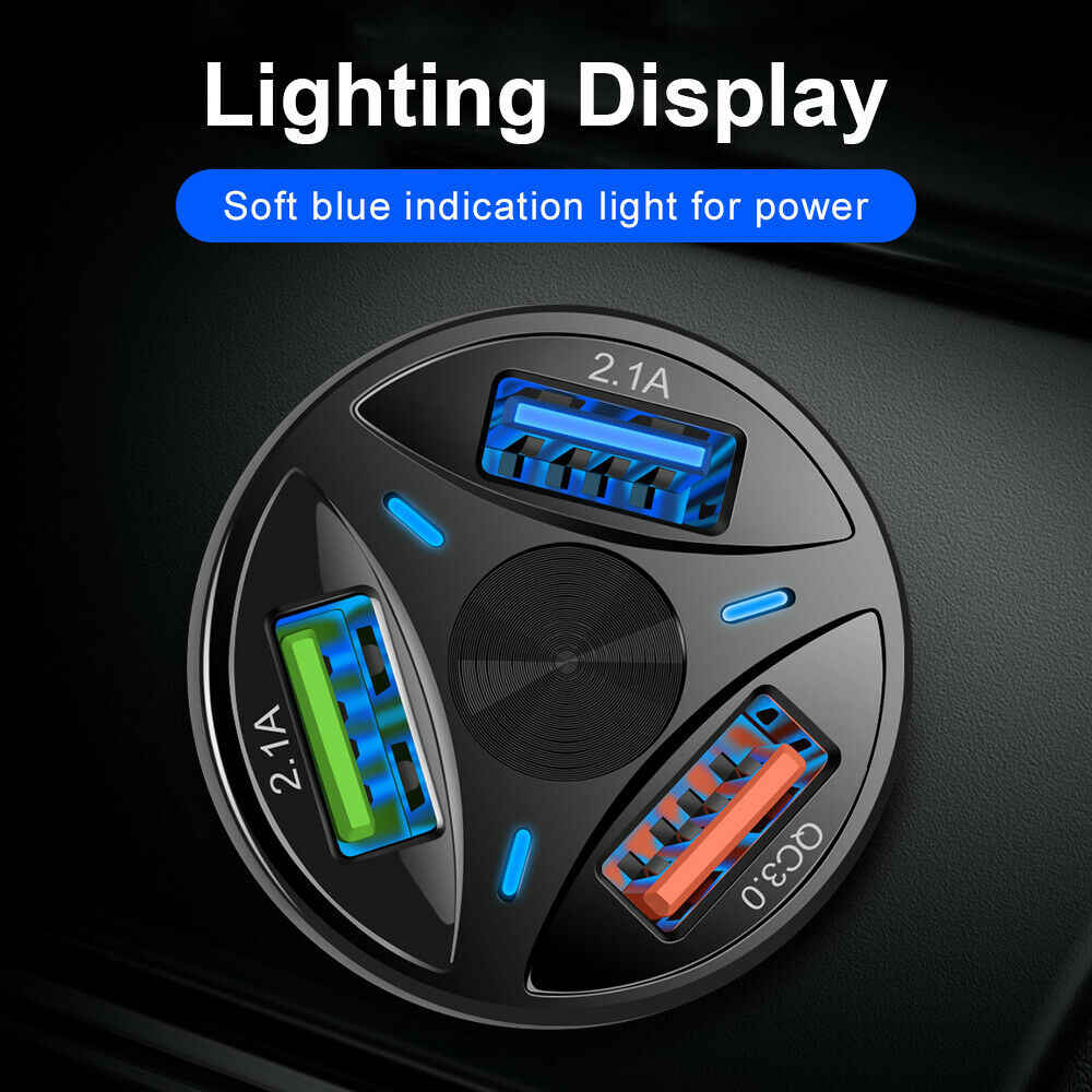 Cargador de coche USB QC 3,0 adaptador de cargador de coche para iPhone USB de carga rápida para teléfono móvil cargador de coche de motocicleta cargador de coche usb