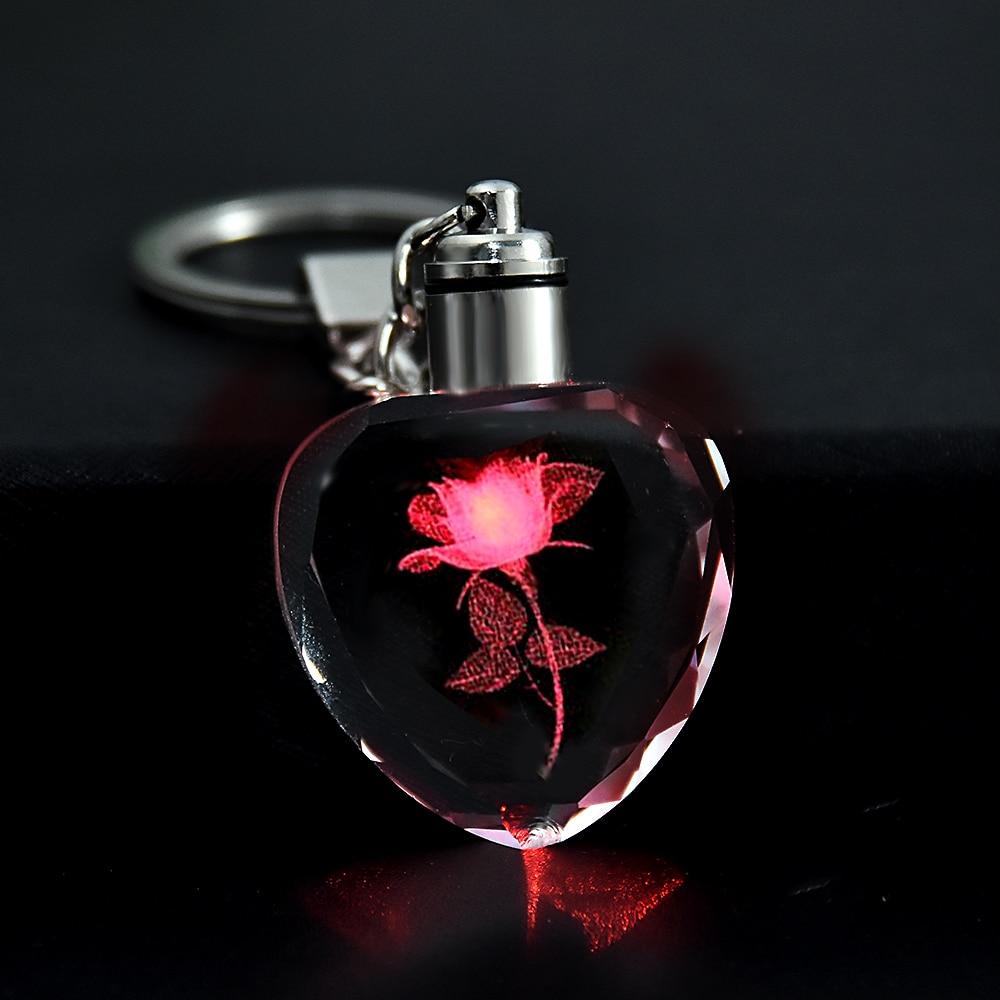 Moda colorido fada rosa flor padrão forma de amor cristal strass led luz chaveiro amante chaveiro chaveiro chaveiro jóias