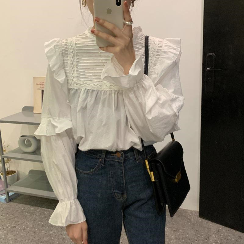 Alien Kitty Beige Stand Ruffles Pullovers Sweet Girls Slim Loose High Quality 2020 Chic Elegant Blouse Casual All-Match Shirt