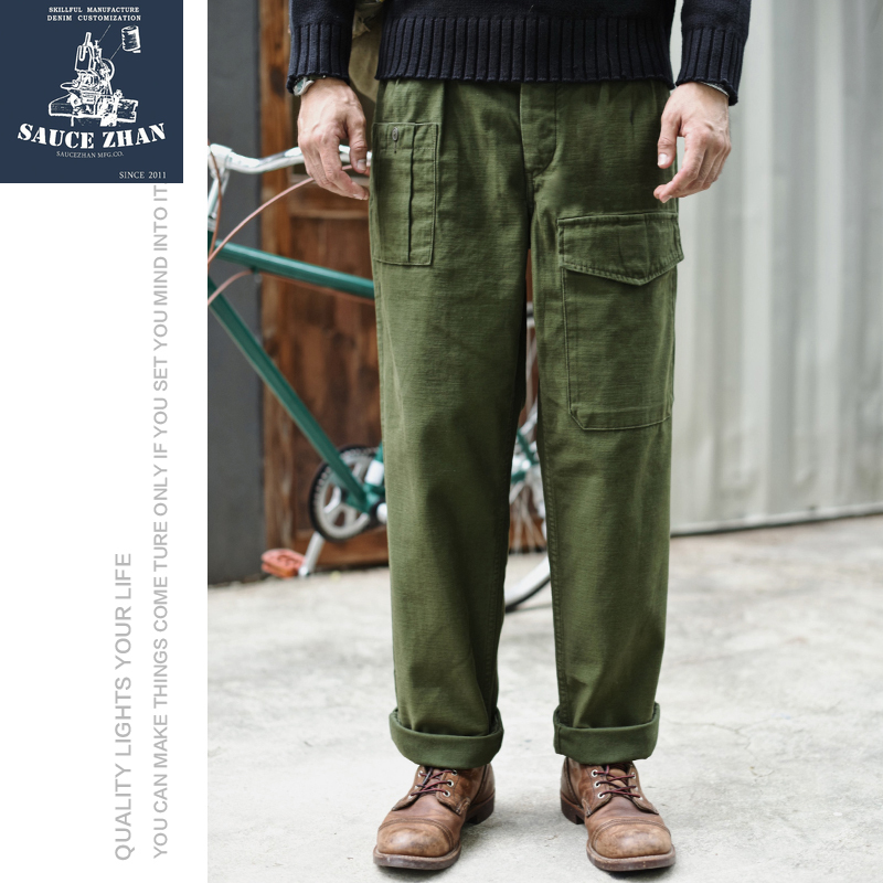 SauceZhan P37 British Army Pants OG107 Utility Fatigue Pants Classic Military Olive Sateen Wide Leg Pants & Capris Casual Pants