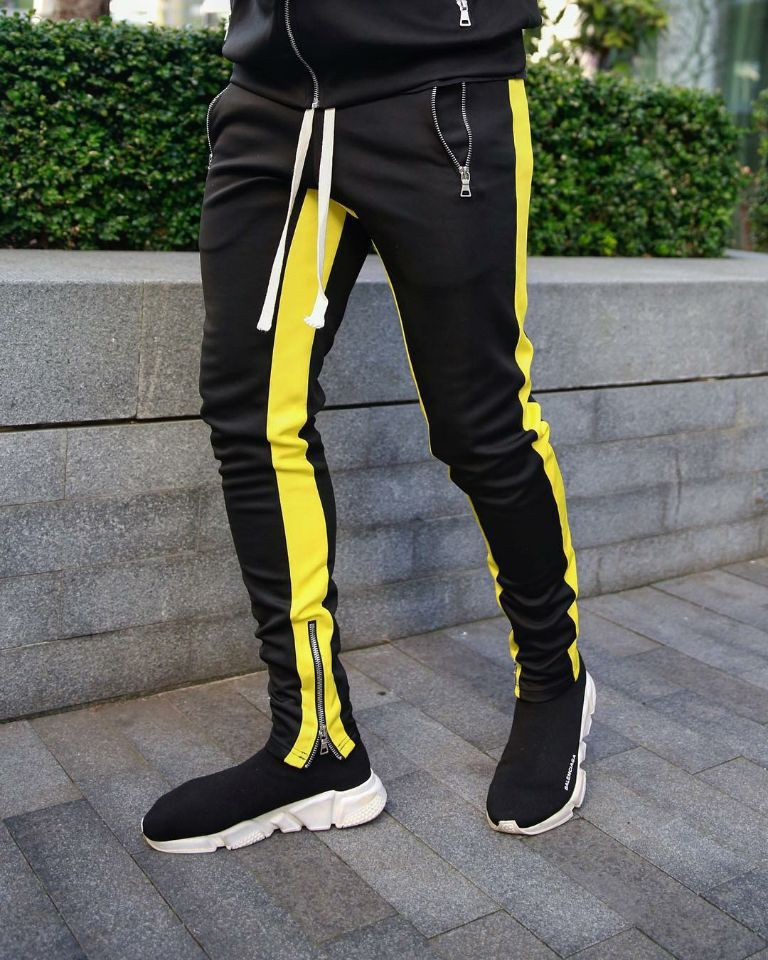 New Street Fashion Brand Casual Color Matching Sports Pants Hip-hop Slim Feet Trousers Male