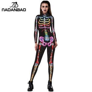 Image 3 - NADANBAO Neue Rose Skeleton Kostüm Overall 3D Drucken Scary Halloween Kostüme Für Frauen Mechanische Schädel Plus Size Body