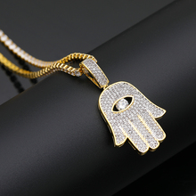 Hip Hop Micro Paved AAA Cubic Zirconia Bling Iced Out Evil Eye Fatima Hand Amulet Pendants Necklace for Men Rapper Jewelry xukim jewelry silver gold color cubic zirconia iced out paw dog cat claw pendant necklace hip hop jewelry