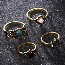 Bohemian 4pcs/Pack Vintage Blue Crystal Rings Lucky Stackable Midi Rings Set Knuckle Ring Rings for Women Party