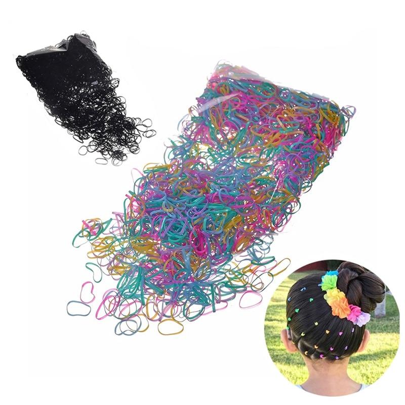 2000pcs/set Disposable Mini Small Clear Rubber Hair Elastic Braids Plaits Braiding Band For Children